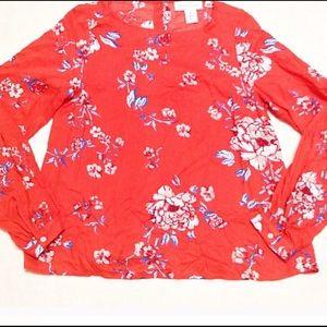 H&M orange floral longsleeve top size 4